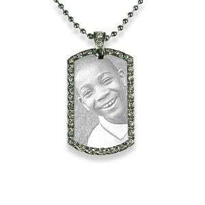 Small Stainless Steel Diamante ID-Tag Photo Pendant