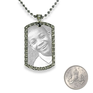 5p Scale Small Stainless Steel Diamante ID-Tag Photo Pendant