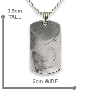 Dimensions Stainless Steel Small ID-Tag Photo Pendant
