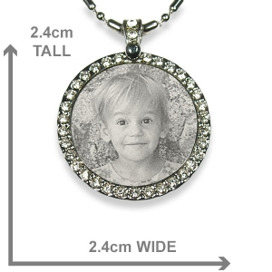 Dimensions Stainless steel Round Diamante Photo Pendant