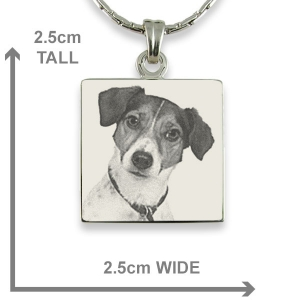 Dimensions of Stainless steel Square Photo Pendant