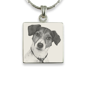 Face of Stainless steel Square Photo Pendant